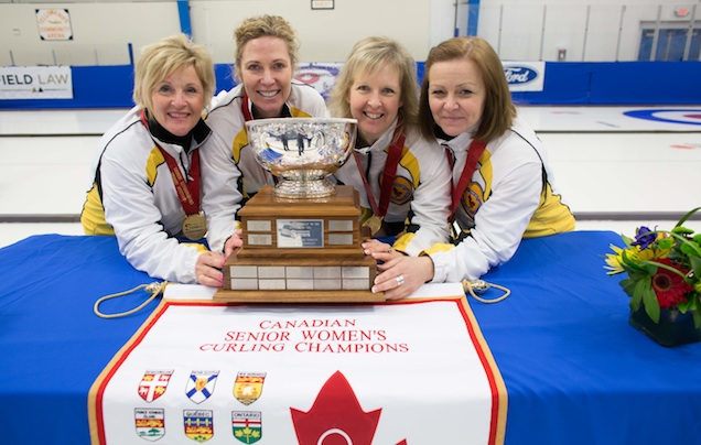 Team Manitoba, 2014 Canadian Senior Women's Curling Champions: skip Lois Fowler, third Maureen Bonar, second Cathy Gauthier, lead Allyson Stewart (Photo James MacKenzie)