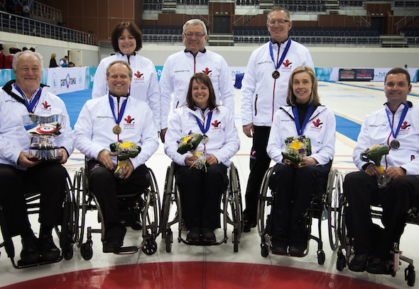 Canada's team for the Paralympic Winter Games, from left, front, skip Jim Armstrong, vice-skip Dennis Thiessen, second Ina Forrest, lead Sonja Gaudet, alternate Mark Ideson. Back row, team leader Wendy Morgan, assistant coach Wayne Kiel, head coach Joe Rea. (Photo, World Curling Federation)