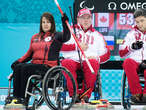Sochi, RUSSIA - Mar 8 2014 -  Ina Forrest celebrates winning an end as Canada takes on Russia in Wheelchair Curling during the 2014 Paralympic Winter Games in Sochi, Russia.  (Photo: Matthew Murnaghan/Canadian Paralympic Committee)