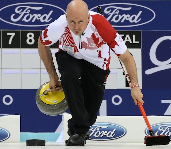 Kevin Koe's Canadian posted a huge win over Germany on Thursday morning. (Photo, World Curling Federation/Richard Gray)