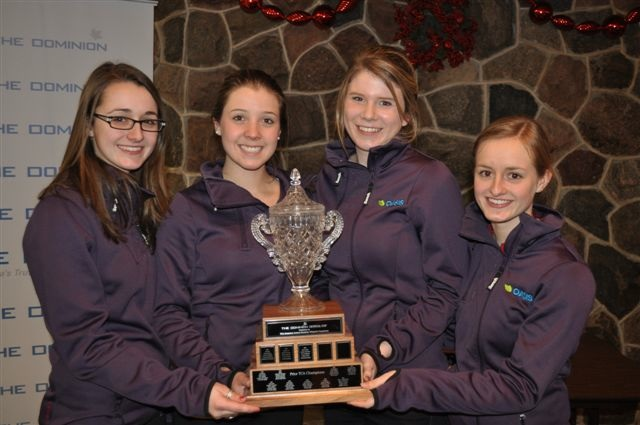 (Left to right) Cheryl Kreviazuk, Kerilynn Mathers, Carly Howard and Lynn Kreviazuk (skip) with the winning trophy at the Toronto TCA Junior Championship 2012