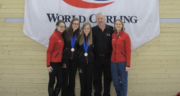 A family portrait (Cheryl, Alison, Lynn, Doug and Janice Kreviazuk) at the 2010 World Junior Curling Championships in Flims, Switzerland (Photo courtesy D. Kreviazuk)
