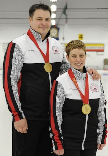 Wayne Tuck, left, and wife Kim Tuck will take aim at Canada's second medal at the World Mixed Doubles Championship. (Photo, Canadian Curling Association)