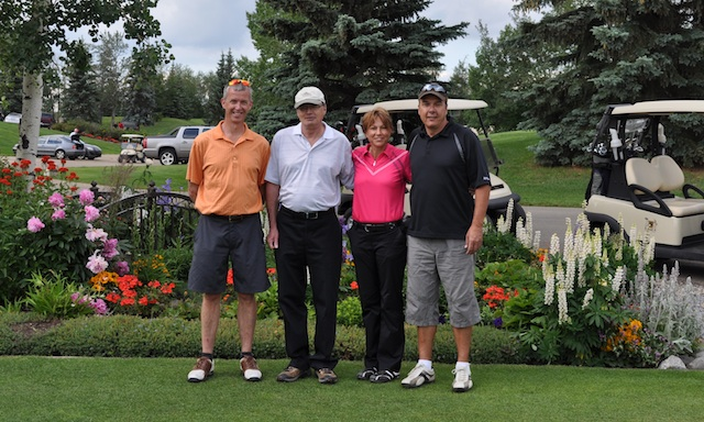 Ralph Maclean (Volunteer of the Year award winner), Greg Empson and Karen Gordulic (long-time directors on the Sherwood Park Board), and club manager Dan Girard pose during the Chamber of Commerce golf tournament in which the curling club hosts a hole (Photo courtesyDan Girard)