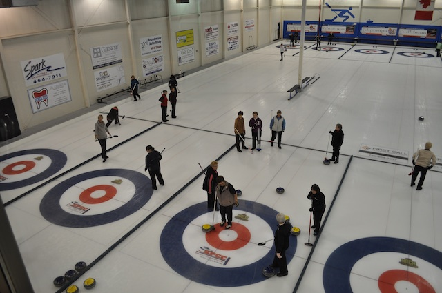 Action on the ice during one of the many leagues offered to almost 1000 curlers at the Sherwood Park Curling Club (Photo Dan Girard)