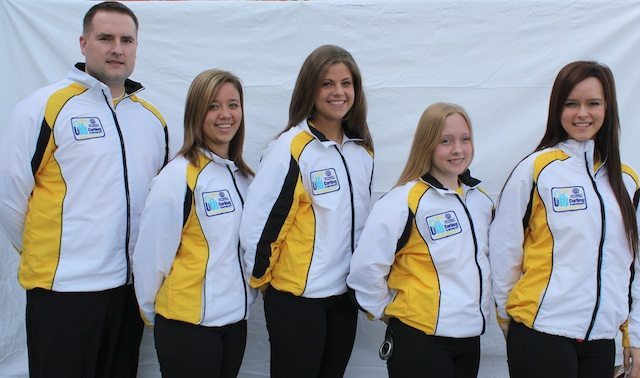 Team Manitoba - skip Brooke Friesen, third Katelyn Derksen, second Kelsey Sagert, lead Cali Hamm and coach Ross Derksen (Photo Kim Loof)