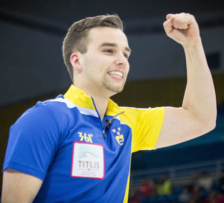 Swedish skip Oskar Eriksson celebrates his semifinal win.  (Photo, World Curling Federation / Céline Stucki)