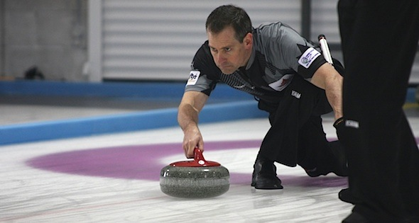 Canadian skip Wayne Tallon in action at the 2014 World Senior Curling Championships in Dumfries, Scotland (Photo WCF/Hugh Stewart)