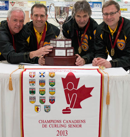 Wayne Tallon's Fredericton, N.B., team (third Mike Kennedy, second Mike Flannery, lead Wade Blanchard) is looking to keep aliove Canada's perfect record of reaching the gold-medal game at the World Senior Men's Championship. (Photo, CCA)