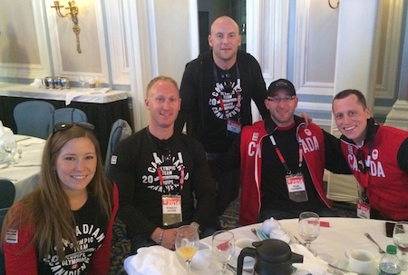 Canadian Olympic gold-medal curlers, from left, Kaitlyn Lawes, Brad Jacobs, Ryan Fry, Ryan Harnden and E.J. Harnden get ready for their school visits on Thursday in Calgary. (Photo, CCA)