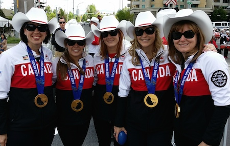 Team Jennifer Jones takes part in the Parade of Champions in Calgary.