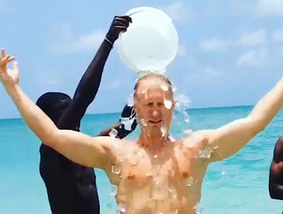 Brad Jacobs cools off while on vacation in the Caribbean.